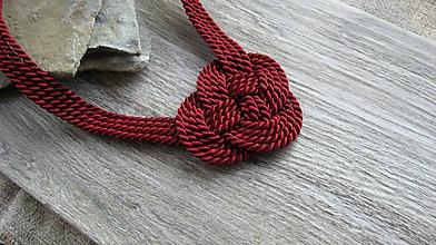 Náhrdelníky - Uzlový náhrdelník hrubý (bordový č. 2311) - 9859508_