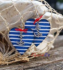 Náušnice - Ľúbim námorníka 4 - 9858320_
