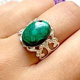 Prstene - Romantic Malachite Ring in Silver / Prsteň s malachitom v striebornom prevedení /0063 - 9861965_