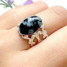 Prstene - Romantic Snowflake Obsidian Ring in Silver / Prsteň s vločkovým obsidiánom v striebornom prevedení - 9861668_