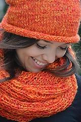 Čiapky - oranžový melír - 9862477_