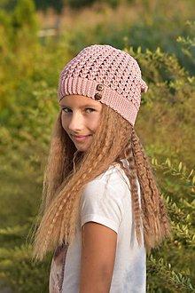 Detské čiapky - Zľava zo 14 na 10 eur - Staroružová čiapka - 9863581_