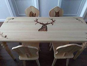 Nábytok - Drevený set, stôl a stoličky - 9861995_