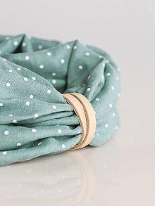 Šály - Ľanový nákrčník s bodkami tyrkysovošedej farby s remienkom (s koženým remienkom) - 9861072_