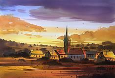 Obraz - Za dedinou, akvarel, 40x30cm