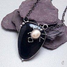 Náhrdelníky - Pavouček pro štěstí - Obsidián, perla - 9862994_