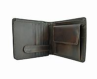Tašky - Peňaženka z prírodnej kože v tmavo hnedej farbe, ručne tamponovaná - 9861090_