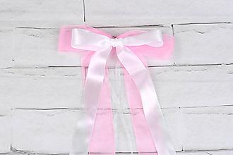 Dekorácie - Mašľa malá bielo-ružová - 9861595_