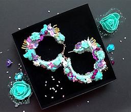 Náušnice - Flower ring earrings fialovo tyrkysove - 9860982_