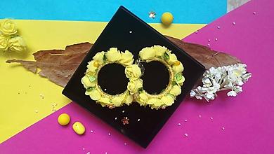 Náušnice - Žlté kvetinové kruhy - 9861027_