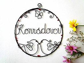 Dekorácie - kruh s menom (svadobný) - 9860792_