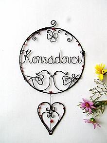 Dekorácie - kruh s menom (svadobná so srdiečkom) - 9860838_