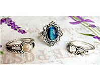 Prstene - Delicate Gemstone Ring SET (3 Rings) / Jemné vintage prstene polodrahokamami (set 3ks) /0059 - 9865210_