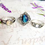 Prstene - Delicate Gemstone Ring SET (3 Rings) / Jemné vintage prstene polodrahokamami (set 3ks) /0059 - 9865218_