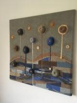 Obrazy - Vlnený textilný obraz v modrom - 9865156_