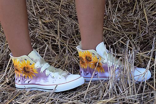 Slnečnice, ručne maľované tenisky