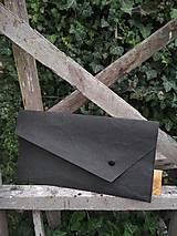 Kabelky - Papierové psaníčko asymetric black - 9864038_
