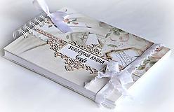 Papiernictvo - Púdrová elegancia-svadobná kniha hostí jemná/kniha prianí - 9863870_