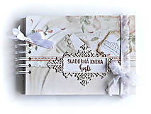 Papiernictvo - Púdrová elegancia-svadobná kniha hostí jemná/kniha prianí - 9863883_
