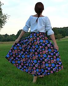 Sukne - Sukňa Krojové kvety na čiernej polkruhová - 9867801_