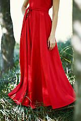 Šaty - Dlhé červené ľanové šaty - 9867426_