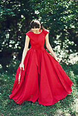 Šaty - Dlhé červené ľanové šaty - 9867428_