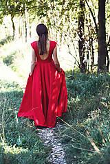 Šaty - Dlhé červené ľanové šaty - 9867436_