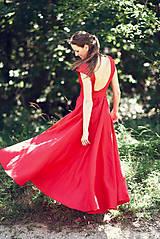 Šaty - Dlhé červené ľanové šaty - 9867437_