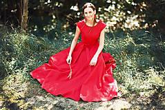 Šaty - Dlhé červené ľanové šaty - 9867438_