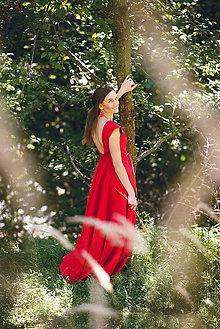 Šaty - Dlhé červené ľanové šaty - 9867427_