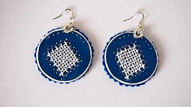 Náušnice - Náušničky modré vyšívané FOLK - 9866909_