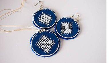 Sady šperkov - Set modrý vyšívaný FOLK - 9866916_