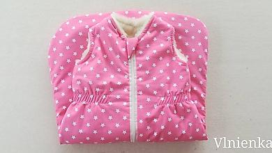 Textil - Spací vak pre deti a bábätká ZIMNÝ 100% MERINO na mieru Hviezdička ružová - 9866999_