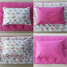 Textil - Obojstranné obliečky do postieľky 100% bavlna BODKA ružová a Sovička - 9867045_