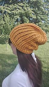 Čiapky - Predĺžená háčkovaná čiapka, homeleska horčicovej farby  - 9866973_