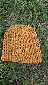 Čiapky - Predĺžená háčkovaná čiapka, homeleska horčicovej farby  - 9866976_