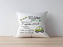 Textil - Detský vankúšik k narodeniu - zelené autíčko - 9866908_