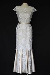 Šaty - Svadobné šaty strih morská panna z hrubej krajky - 9866435_