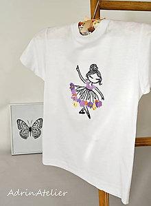 Detské oblečenie - tričko-kvetinková víla-fialová - 9866940_