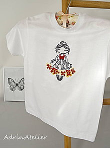 Detské oblečenie - tričko-kvetinková víla-červená - 9866945_