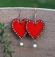Náušnice - Heart dots // Red - 9866649_