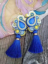 Náušnice - Šujtášové náušnice so strapčekom (Modrá) - 9867102_