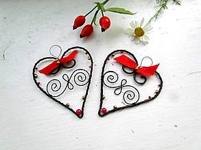 Dekorácie - červeno - zlaté srdce - 9865601_