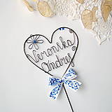 Dekorácie - svadobný zápich - srdiečko s menami - 9870106_