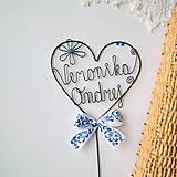 Dekorácie - svadobný zápich - srdiečko s menami - 9870107_
