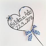 Dekorácie - svadobný zápich - srdiečko s menami - 9870125_