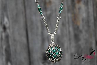 Náhrdelníky - náhrdelník - smaragdová guľa - 9869116_