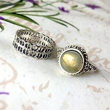 Prstene - Double Labradorite Antique Silver Knuckle & Finger Ring / Sada 2 starostrieborných prsteňov s labradoritom /0056 - 9868347_