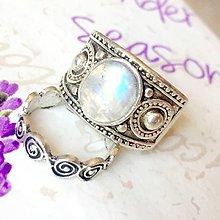 Prstene - Double Moonstone Antique Silver Knuckle & Finger Ring / Sada 2 starostrieborných prsteňov s mesačným kameňom /0055 - 9868385_