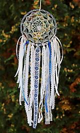Dekorácie - folklórny lapač snov modrý - 9869512_